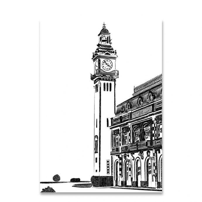 Lámina Edificio del Reloj Puerto de Valencia