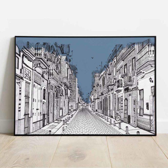 Vista de una lámina de la Calle Rosario del Cabanyal de Valencia