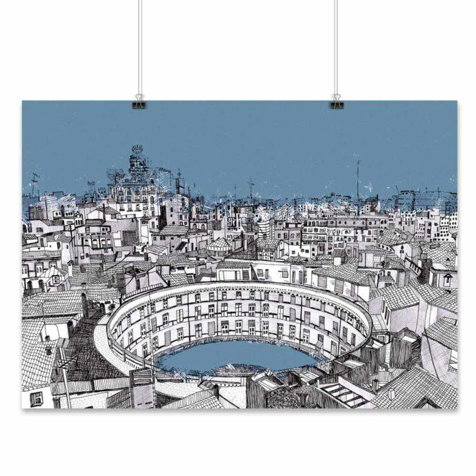 Lámina de la Plaza Redonda de Valencia